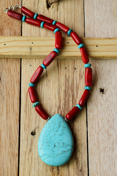 chunky turquoise and red coral beaded necklace with sterling silver clasp