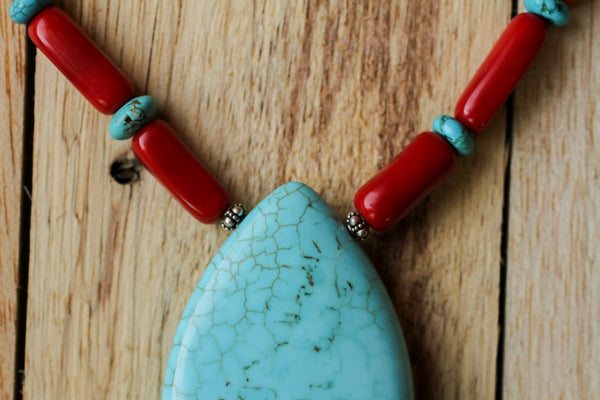 "17"" Turquoise Beaded Pendant Necklace with Red Coral Tube Beads"