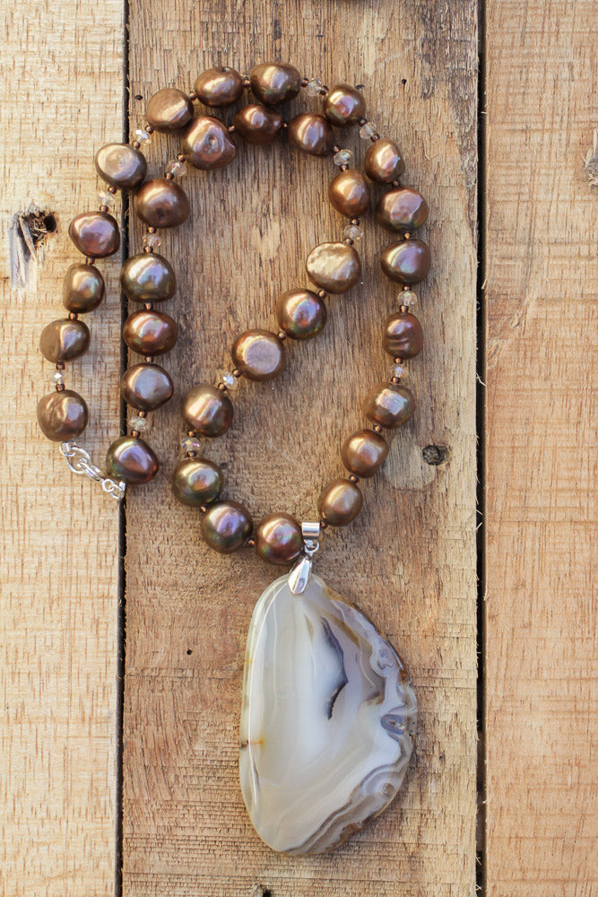 agate slice beaded necklace with brown freshwater pearl beads