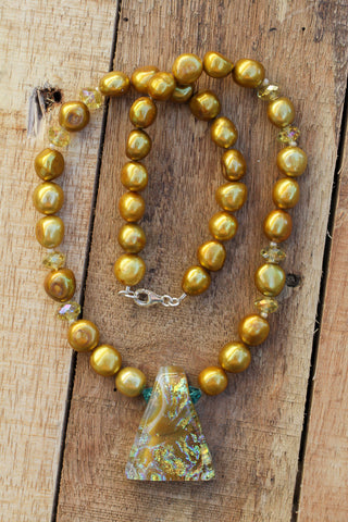 golden dichroic glass pendant necklace with freshwater pearls