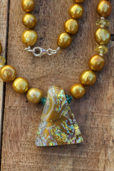 "18.5"" Dichroic Pendant Necklace with Gold Colored Freshwater Pearls & Crystals"