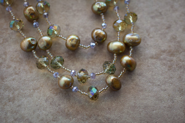 "60"" Olivine Freshwater Pearl & Crystal Necklace"