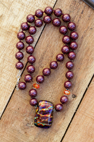 "20"" Long Dichroic Glass Pendant Necklace with Plum Purple Faux Shell Pearls & Crystal Beads"