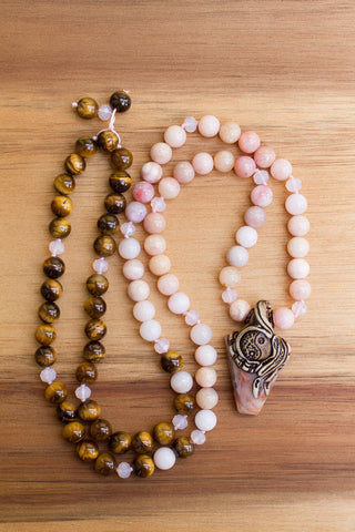 "29"" Long Peruvian Pink Opal, Tiger Eye and Polymer Clay and Jasper Beaded Pendant Necklace"