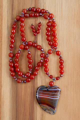 "30"" Long Striped Agate Heart Necklace with Carnelian & Hematite Beads"