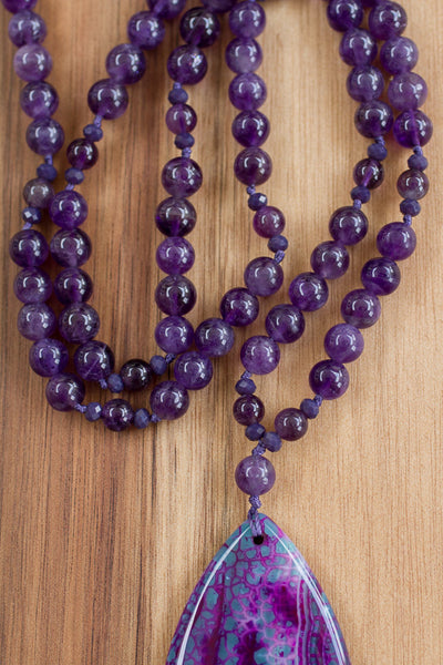"30"" Purple Agate Pendant Necklace with Amethyst & Crystal"
