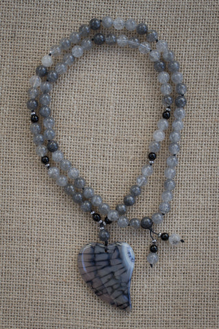"29"" Long Grey Dragon Vein Agate Heart Pendant Necklace with Grey Agate, Onyx & Hematite Beads"