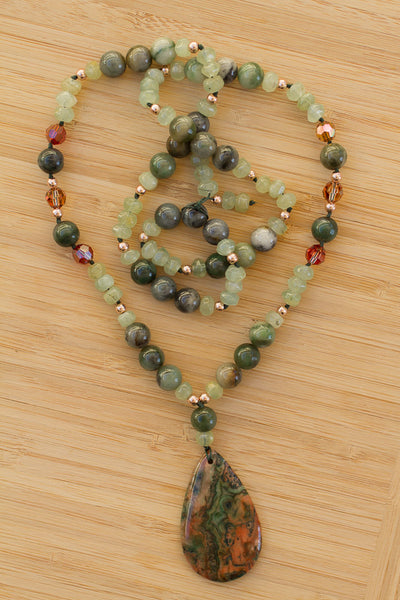 "30"" Green Agate Pendant Necklace with Jade, Aquamarine, Rose Gold Plated Hematite & Crystals"