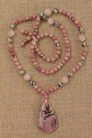 "29"" Pink Rhodonite Pendant Necklace with Rhodonite, Dalmatian Jasper, Cherry Quartz & Hematite"