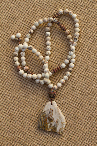 "30"" Agate Slice Necklace with White Turquoise & Leopardskin Jasper"