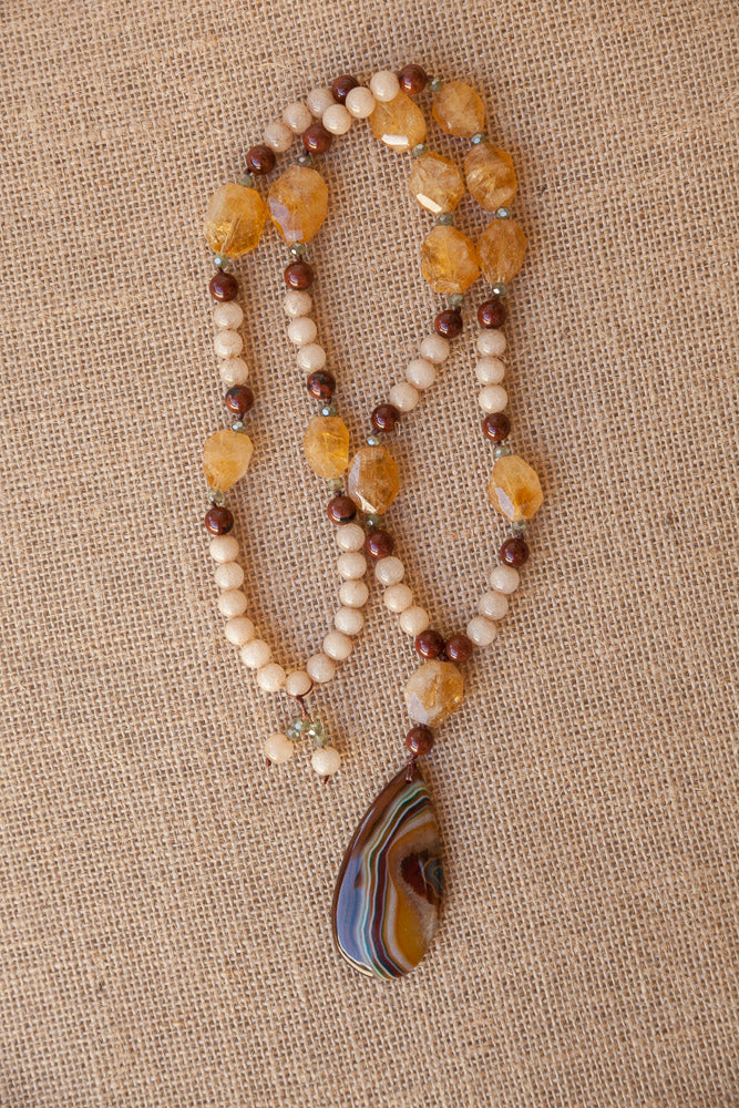 "30"" Brown Striped Agate Pendant Necklace with Citrine, Beige Jade, Mahogany Obsidian & Crystal"