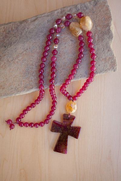 "30"" Red/Gold Dragon Vein Agate Cross Pendant Necklace with Plum Jade & Citrine"