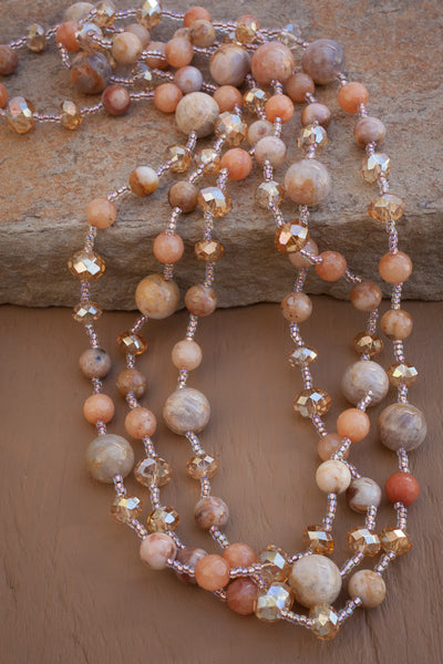 "60"" Peach Feldspar & Crystal Necklace"