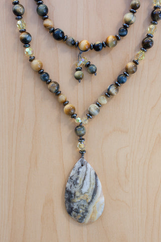 "30"" Crazy Lace Agate Pendant Beaded Necklace with Blue Tiger Eye, Hematite & Swarovski"