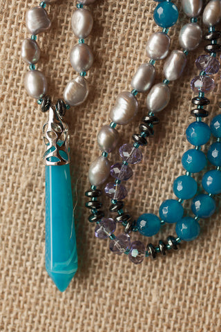 "29"" Aqua / Teal Agate Pendulum Necklace with Freshwater Grey Pearls & Purple Glass"