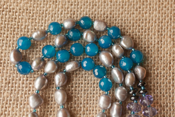 "30"" Long Aqua / Teal Agate Pendulum Beaded Necklace with Freshwater Grey Pearls & Purple Glass Beads"