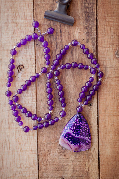 "28"" Long Purple Agate Pendant Necklace with Amethyst Glass & Crystal Beads"