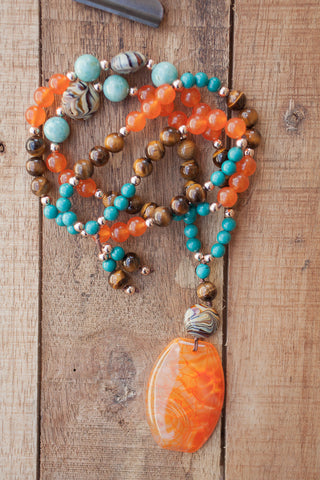 "29"" Boho Style Orange Agate Pendant Necklace with Tiger Eye, Turquoise & Orange Jade"