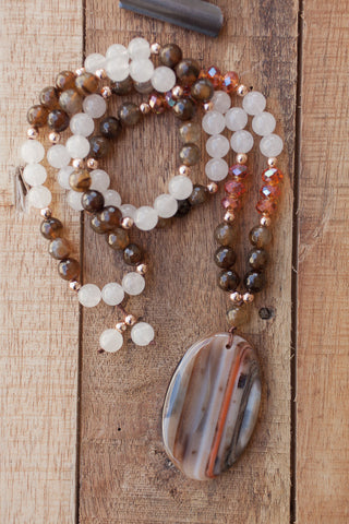 "29"" Long Striped Brown/Orange Agate Pendant Necklace with Brown Agate, White Jade & Orange Crystals"