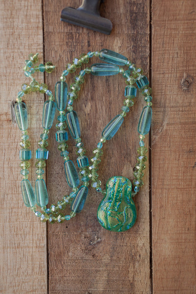"28"" Long Aqua Dichroic Pendant Beaded Necklace with Glass & Crystal Beads"