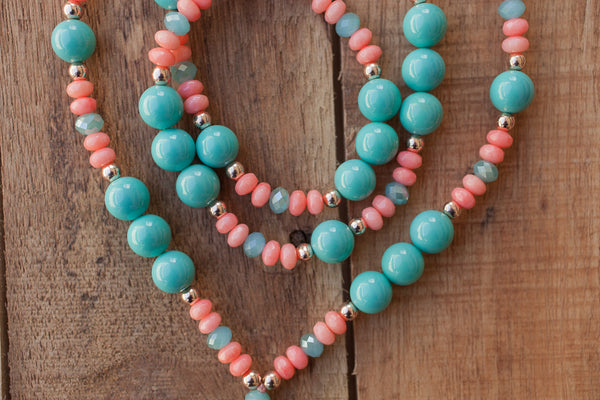 "30"" Long Agate Beaded Pendant Necklace with Turquoise South Sea Shell Pearls, Coral & Crystals"