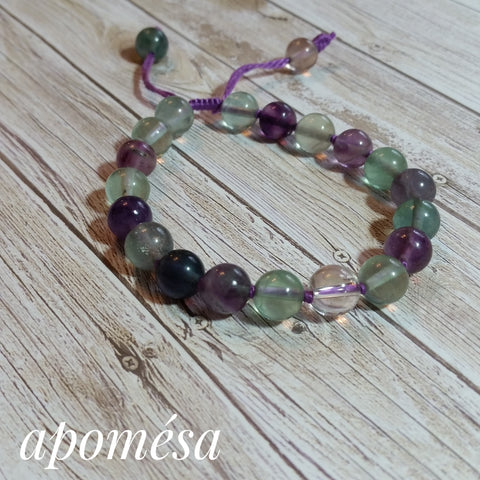 Fluorite Mala Inspired bracelet with a Clear Quartz focal bead on Purple Cotton Thread 161