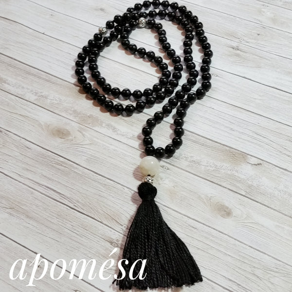 Black Onyx and Moonstone Mala