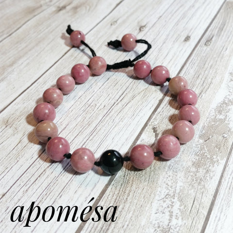 Rhodonite Mala Inspired Bracelet with Onyx focal bead on Cotton Thread 211