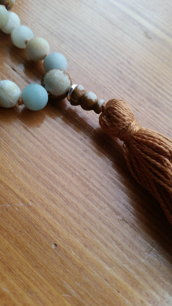 """I am calm, and welcome clarity into my life"" Amazonite Mala"