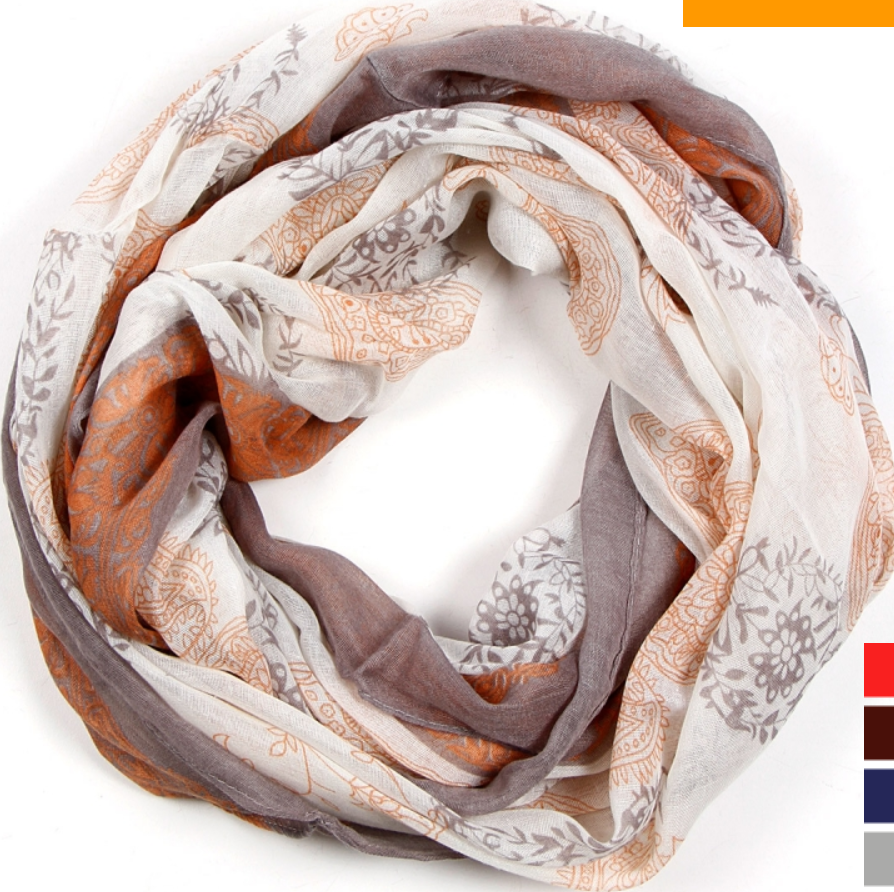 Flower paisley and filigree print infinity scarf