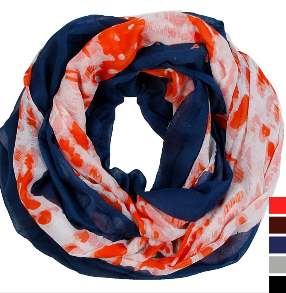Abstract Infinity Scarf, Orange and Navy