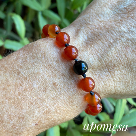 Carnelian Mala Inspired Bracelet with Black Onyx on a Black Nylon Thread #157