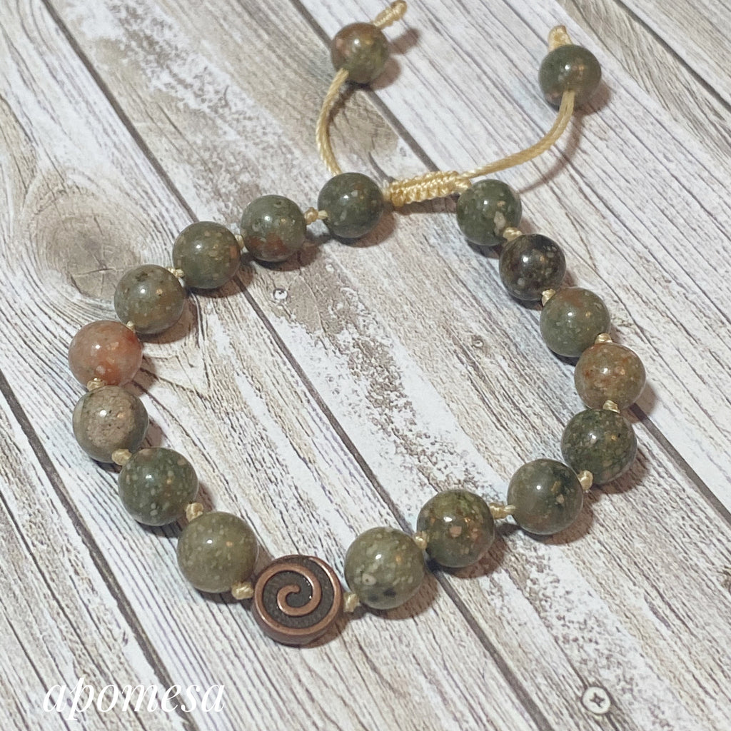 Autumn Jasper Mala Inspired Bracelet on Cotton Thread 158