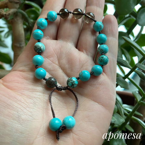 Turquoise and Smoky Quartz Mala Inspired Bracelet 302