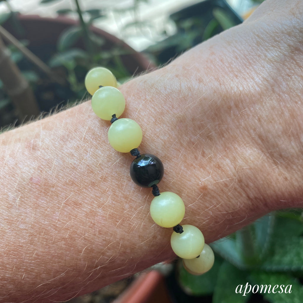 Peridot Mala Inspired Bracelet with Onyx 197