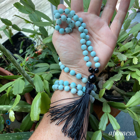 Amazonite and Black Onyx Mala