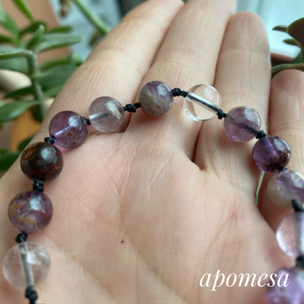 Ametrine and Clear Quartz Mala Inspired Bracelet #176