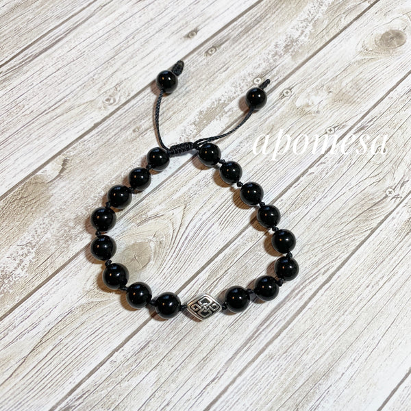 Onyx Mala Inspired Bracelet with Celtic knot on Black NylonThread 209