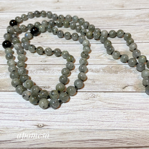 Labradorite Mala with Black Onyx Marker Beads and Guru Bead