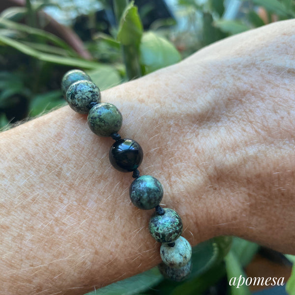 African Turquoise Mala Inspired Bracelet with Black Onyx on Black Nylon Thread 172