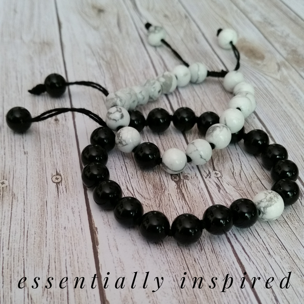 Onyx and Howlite Set on Black Nylon Thread 196 (IN STOCK! Message me to purchase)