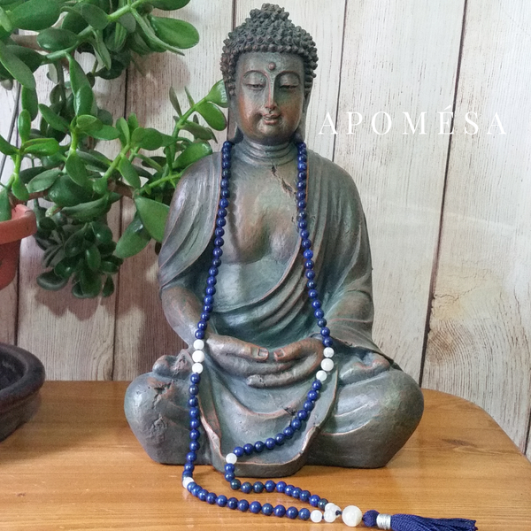 Lapis Lazuli and Rainbow Moonstone Mala