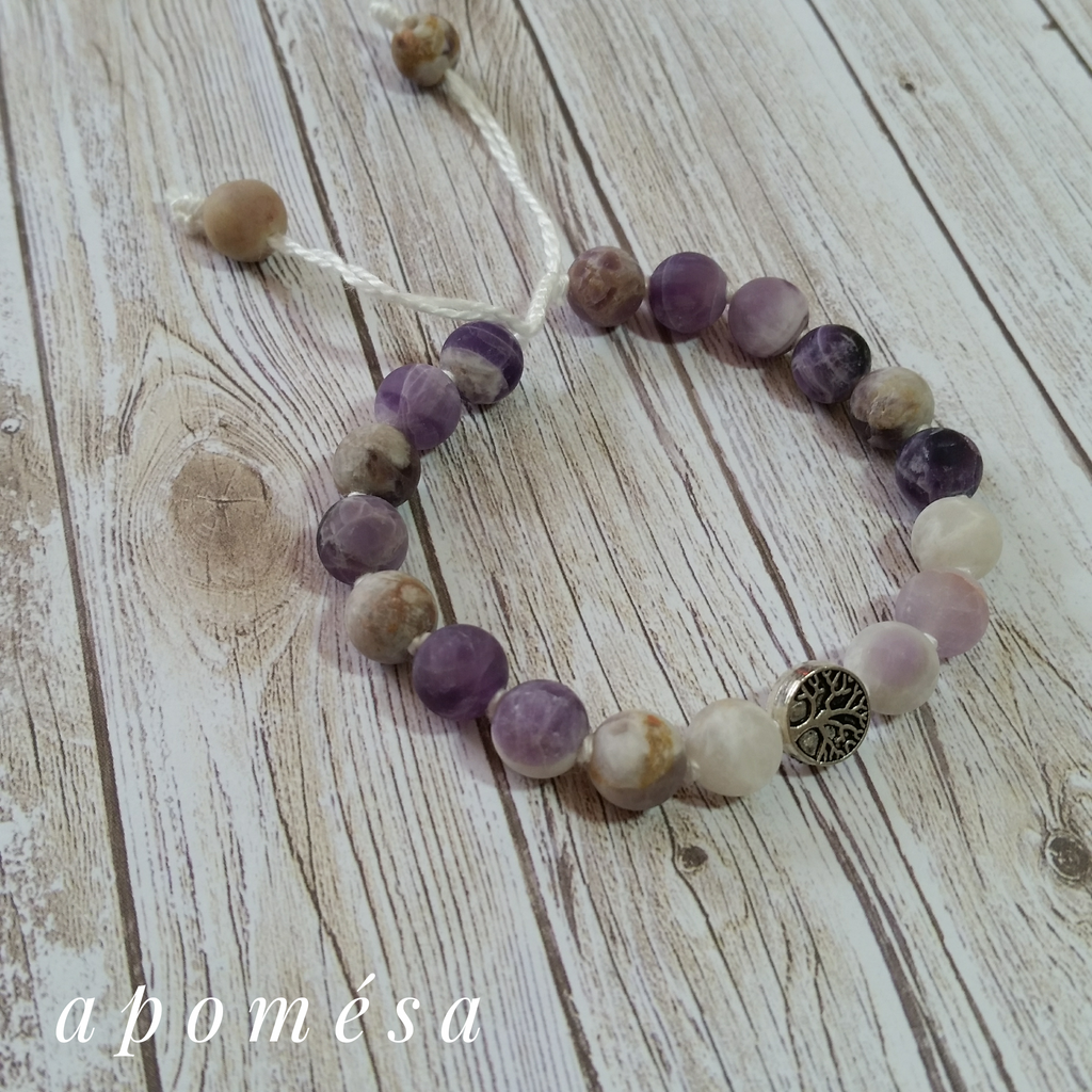 *Sage Amethyst Mala Inspired Bracelet on white thread with tree of life