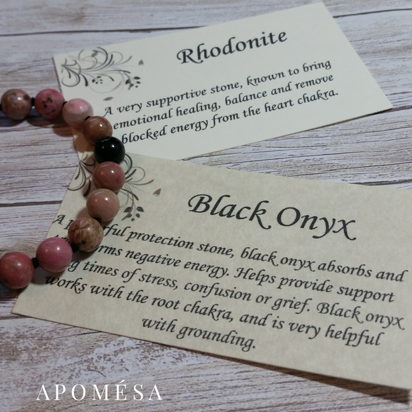 Rhodonite Mala Inspired bracelet with Onyx on Black cotton thread 150