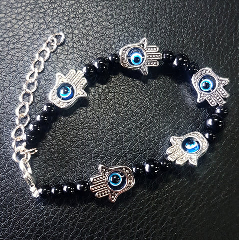 Evil Eye Bracelet Charm - Black Beads Blue Eyes