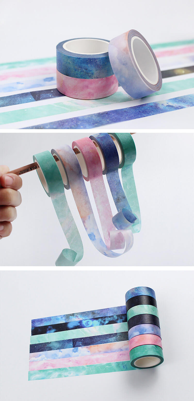 7 Rolls Set Galaxy Washi Tape - Detail