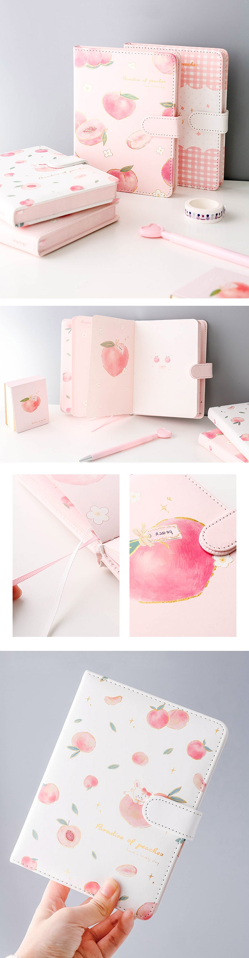 A5 A6 Peach Pink Personal Journal Notebook - Detail