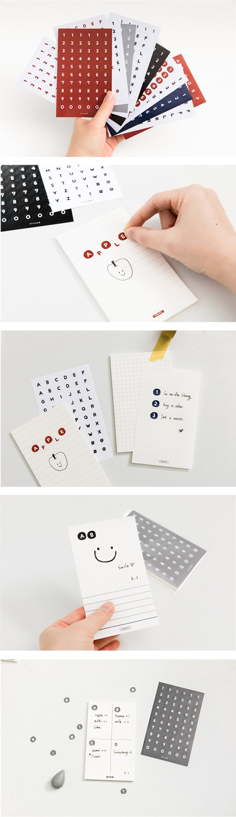 Alphabets and Numbers Sticker Note Set - Detail