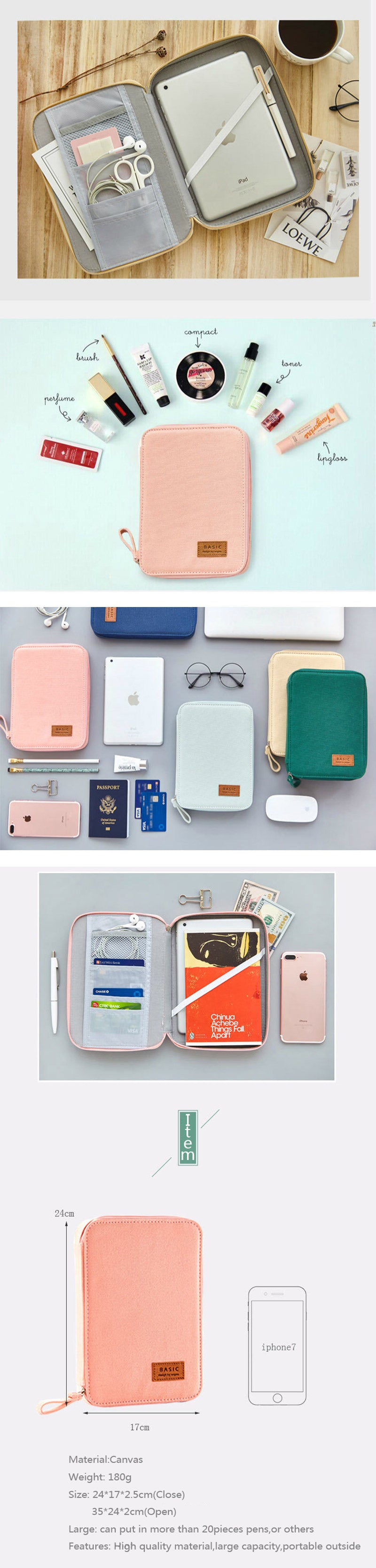 Canvas Zipper Large Stationery Organizer - Detail