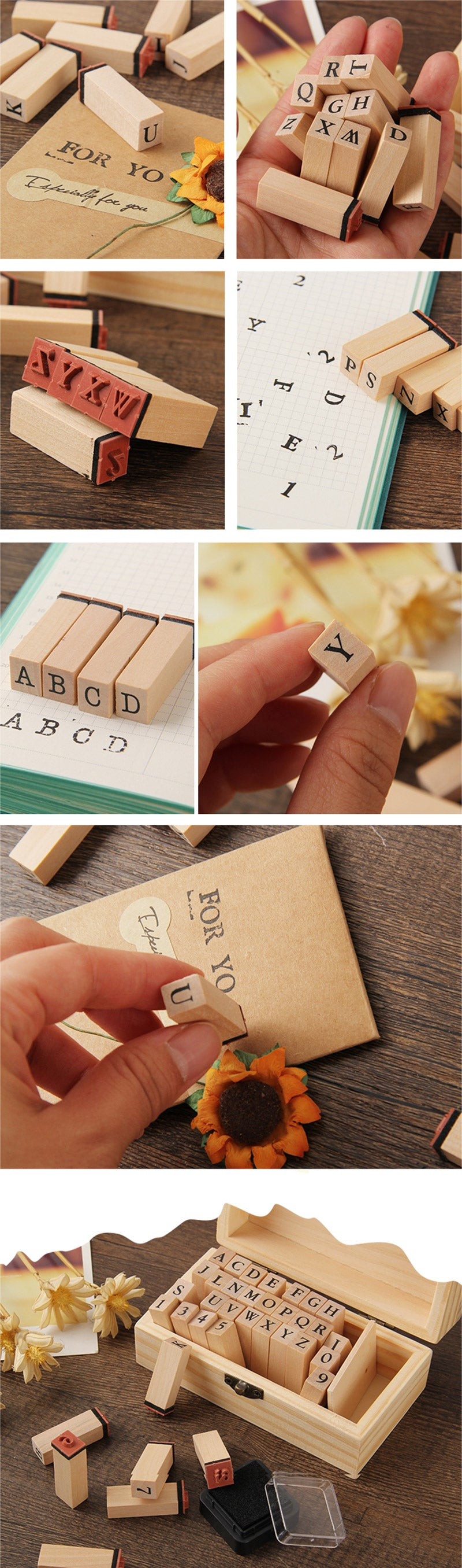 Capital Alphabet Wooden Stamp Set - Detail
